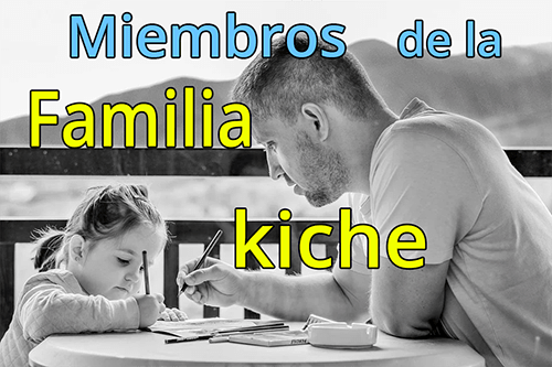 Miembros de la familia en k'iche y español
